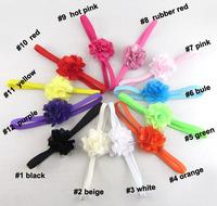 New Baby Girls Flower Hair Accessories Kids Flower Headbands Children Chiffon Flowers for Headbands Free Shipping