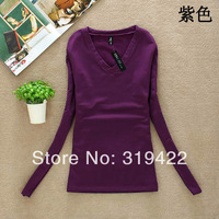 Spring 2014 fashion new Korean Women Slim-quality milk silk V-neck bottoming shirt warm