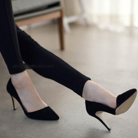 2014 new women pumps pointed toe black Scrub shallow mouth high-heeled women's shoes Free shipping