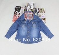 Free Shipping + stock! ! ! 2014 boys and girls denim shirt