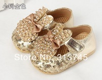 The 1-2-3 years old children female baby toddler shoes princess han edition bow shoes single leather baby girls shoes14-- 25