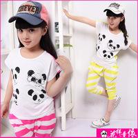 Retail Summer panda Girls' clothing Sets baby girls Clothling short sleeves cartoon short T-shirt+haren pants 2pcs suit