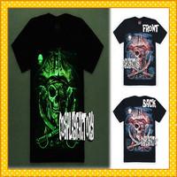 Free Shipping O-Neck Rock Band Skull Men Fluorescent Plus Size 3D Cotton Tshirt,0.6kg/pc