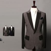 New arrival free shipping2014 spring color block men's casual one button blazer unique paragraph suits