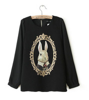 2014 Korea style cartoon rabbit chiffon skirt O-neck ladies' fashion novelty blouse high quality