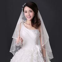 2014 wedding formal dress accessories bridal veil quality handmade beading veil air veil