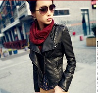 2014 fashion Small outwear leather women short slim women locomotive PU leather jacket
