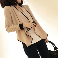 Fashion cloak long-sleeve pads hemming color block 2014 outerwear women's blazer short jacket