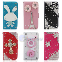Fashion Cute Cartoon Mirror Flower Tower Bling Diamond Stand Flip Style Leather Wallet Case Cover For iPhone 5 5S Dropshipping