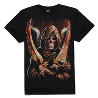 2014 Hot High Quality Male Personality Short-Sleeve T-Shirt 3d Skull Sickle O-Neck Short Slevee Tees 100% Cotton