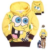 Spongebob 2014 New Baby Boys cartoon T-shirts cotton long sleeve shirt kids hoodies fashion sweater tops children autumn clothes