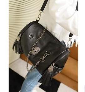 2014 tassel vintage ghost head bag skull women's handbag one shoulder female handbag rivet designer bags BK80746(China (Mainland))