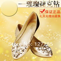 Leather shoes casual sandals fashion classic rhinestone beautiful flat with special explosion models