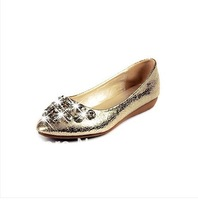 Spring diamond single flat shoes with soft leather singles mom shoes