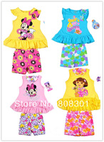 2014 cartoon yellow top and shorts two-piece foreign trade the original single flower