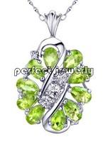 Peridot necklace pendant Free shipping Perfect Jewelry!Natural peridot pendant, 925 silver  pendant,1pc/jewelry box,#ALIE-8019