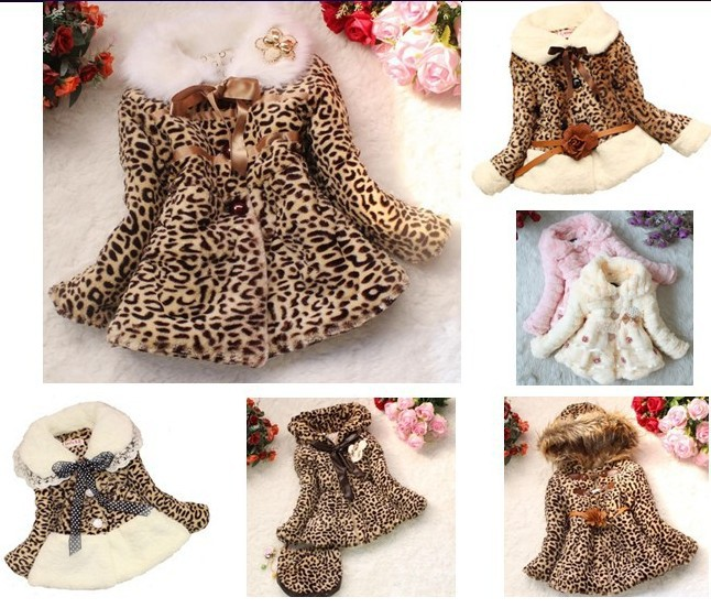 Retail Girls Leopard faux fox fur collar coat clothing with bow Autumn Winter wear Clothes baby Children outerwear jacket(China (Mainland))
