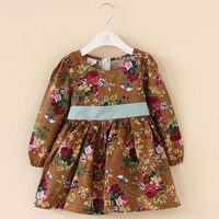 Print flower spring and autumn vintage dress fit 90-130cm girl wear 5pcs/lot free shipping