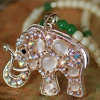 A365 transparent opal agate fashion chain elephant exotic necklace pendant with free shipping