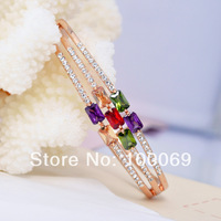 2014 New Arrival  Rose Gold Plated Bracelets & Bangles for Women Colorful Cubic Zirconia Stone Crystal Female Jewelry B1151