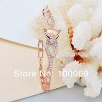 New 2013 18K Rose Gold Plated Sexy Fox Rhinestone Crystal Wedding Jewelry Bangles Fashion Statement Jewelry B1155
