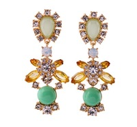 Fashion exaggerated earrings multicolour gem crystal flower stud earring female accessories