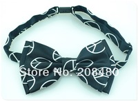 "Free shipping-Bow tie for Men Unisex Tuxedo Classic BowTie Pure Black ""Peace"" Adjustable Bow Tie"