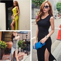 OL Sexy Split Irregular Slim Clubwear Asymmetric Hem High-low Maxi Swallow Long Women winter Dress Free Shipping