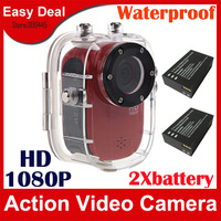 SJ1000 Full HD Sport Helmet Action Camera With HD 1920X1080P H.264 30M Waterproof Camcorder (2 PCS Battery ) Free Shipping