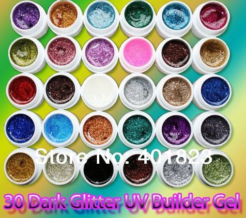 FREE SHIPPING blink sparkle uv gel set 30 Glitter colors nail gels nail polish PRO Nail Art Builder Gel Wholesale(China (Mainland))