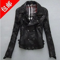New arrival classic high quality pure sheepskin genuine leather women motorcycle leather jacket and suede free shipping