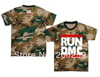 RUN DMC  camo stree wear tee shirts o-neck cotton shirts short sleeve designer styles 1pcs send by China air post mail