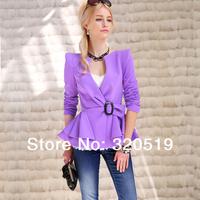 new 2014 dabuwawa brand new authentic Short coat female outwear multi-layer lotus leaf spring slim waist short coat