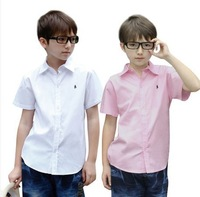 2014 Teenagers Short Sleeve Shirts Young Boys Casual Shirts Junior High School Student Shirts 110-170 CM 5490