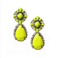 Free shipping shourouk 2013 roma crystal gem pendant earrings colorful choice fashion flower shourouk earrings