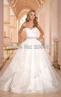 2014 NEW DESIGN Free Shipping Custom Made Princess Sweetheart Beads Sashes Elegant Plus Size Wedding Dress vestido de noiva NW33