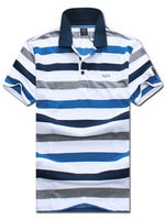 Stylish horizontal stripes lapel short-sleeve T-shirt men's top men's T-shirt Men's 2014 free shipping