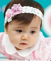 New Baby Girl's princess beautiful button flower lace Hair Accessories child baby headband Infant Hair Band -47