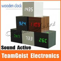 Wholesale 100pcs/lot Sound Activated Square Digital Wood Wooden Clock 3 Alarm Clock Thermometer Calendars LED Light Display