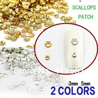 Free shipping,2014 new top selling,Nail naval sea wind gold and silver shell,DIY metal scallops patch,3-5mm,nail art decorations