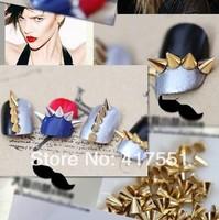 Top selling--2014 new nails art Decoration,DIY nail bizarre rivet punk wind alloy,3 * 3 mm,3 * 5 mm gold ,silver,black