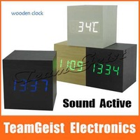 Sound Activated Square Digital Wood Wooden Clock 3 Alarm Clock Thermometer Calendars Red/Green/Blue LED Light Display Desk Clock