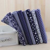 New 2014 50x50cm 7pcs dark navy blue home textile patchwork cotton fabric stripe dot tilda cloth for sewing JY06