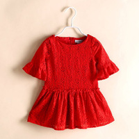 New 2014 Summer Girls Red Lace Dress Flare Sleeve Children Dress Brand Girl Dresses Cute White Kids Clothing 3-10Y Wholesale
