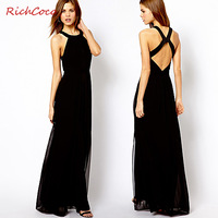 Beautiful  normic  racerback slim fashion long design chiffon one-piece dress tank dress