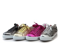 2014 New P Brand Designer Lady Casual shoes,  Fashion Rivets Genuine Leather Lace up  Sneakers For Women,Gold Sliver 35-42 Size