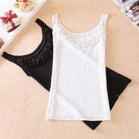 A001 white and Black New Korean version of the Slim small chest small lace halter camisole ladies bottoming