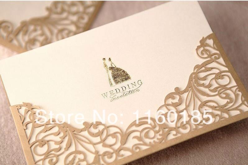 EMS Free Shipping 100pcs Gold&Red Vintage Wedding Invitation Card ,Wedding Invitation Kit ,Wedding Party Decoration supplies(China (Mainland))