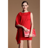 A Fashion t fashion are red irregular cape type one-piece dress batwing sleeve vintage spring and summer short skirt 9859