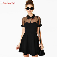 Fashion  & High quality sexy slim cutout turn-down collar raglan sleeve chiffon one-piece dress patchwork